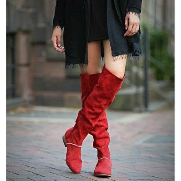 Grandeur Red Suede Over The Knee Boots
